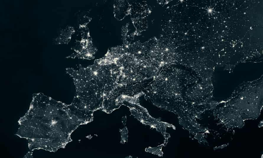 Britain and Europe as seen from space at night. In reality, the danger of widespread or prolonged blackouts is remote.