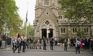 A general view outside of Scots Church during the State Funeral for the Right Honourable Malcolm Fraser on March 27, 2015 in Melbourne, Australia.