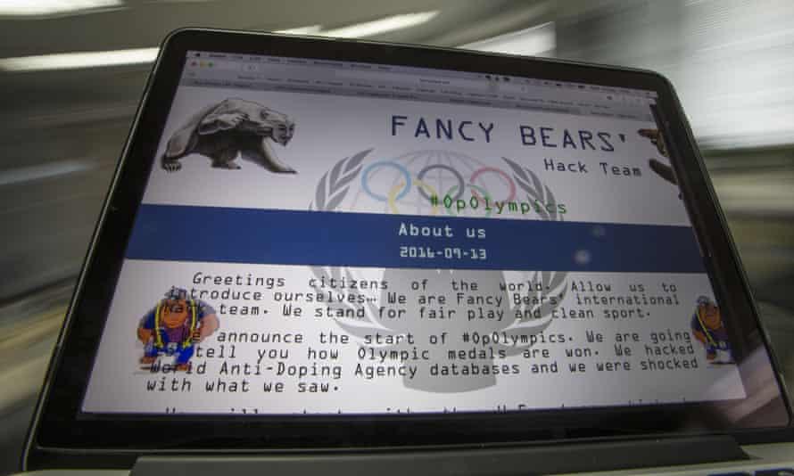 A screenshot of the Fancy Bears website in 2016