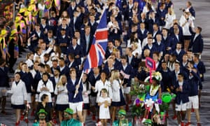 Andy Murray leads the Great Britain team at the opening ceremony of the Rio Olympics.