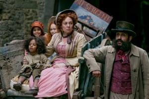 Quite the sneer … Olivia Colman and Adeel Akhtar as Madame and Monsieur Thénardier.