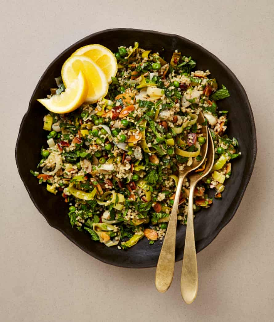 Meera Sodha's leek, almond and herb tabbouleh