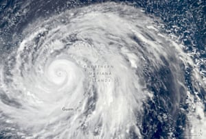 Super Typhoon Hagibis over the Northern Mariana Islands. It is heading for Tokyo.