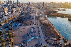 Beirut, Lebanon: An aerial view of ruined structures at the port damaged by the explosion on Tuesday