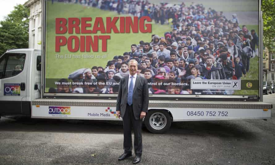 The Ukip leader, Nigel Farage, launching a controversial anti-migrant poster