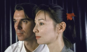 A younger David Byrne with his then wife, designer Adelle Lutz, both in profile