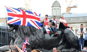 The Free Tommy Robinson protest in Trafalgar Square, London.