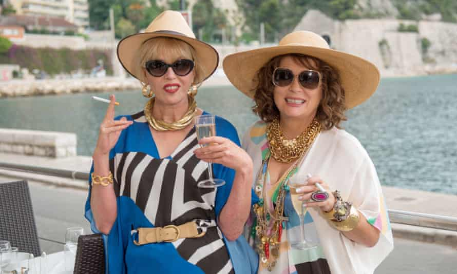 The denial principle: Patsy and Edina knock back the Bolly with the self-destructive gusto in the Absolutely Fabulous film.