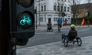 Disabled cyclists using the Quietway 1 route in London.