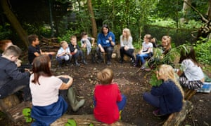 Pupils enjoying forest school within the grounds of St Mary's Church of England Primary School in South Reddish, Stockport, June 2019