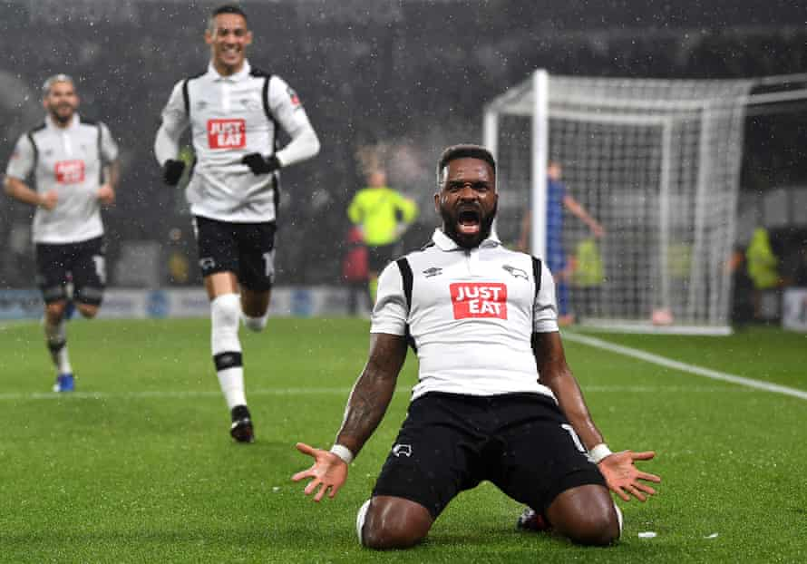 Bent celebrates after scoring for Derby in the first game against Leicester.