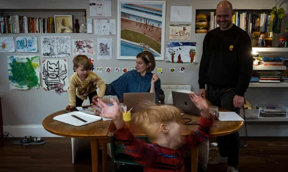 Brunswick parents Lucy Morieson and Evet Jean struggle to juggle working from home amid the chaos of home schooling their two son