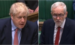 Boris Johnson and Jeremy Corbyn at PMQs.