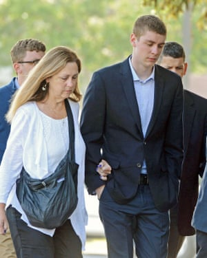 Brock Turner (right) makes his way into the Santa Clara superior courthouse in Palo Alto, California on 2 June.