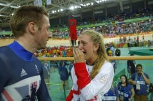 Great Britain's Laura Trott cries