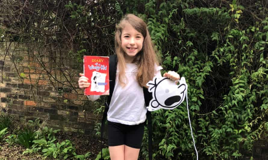 Flora Ferguson, aged nine, dressed up as a book or book character for World Book Day 2021, using things around the house during lockdown