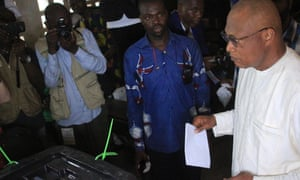 Opposition candidate Jean Pierre Fabre casts his ballot in the presidential elections in capital Lomé.