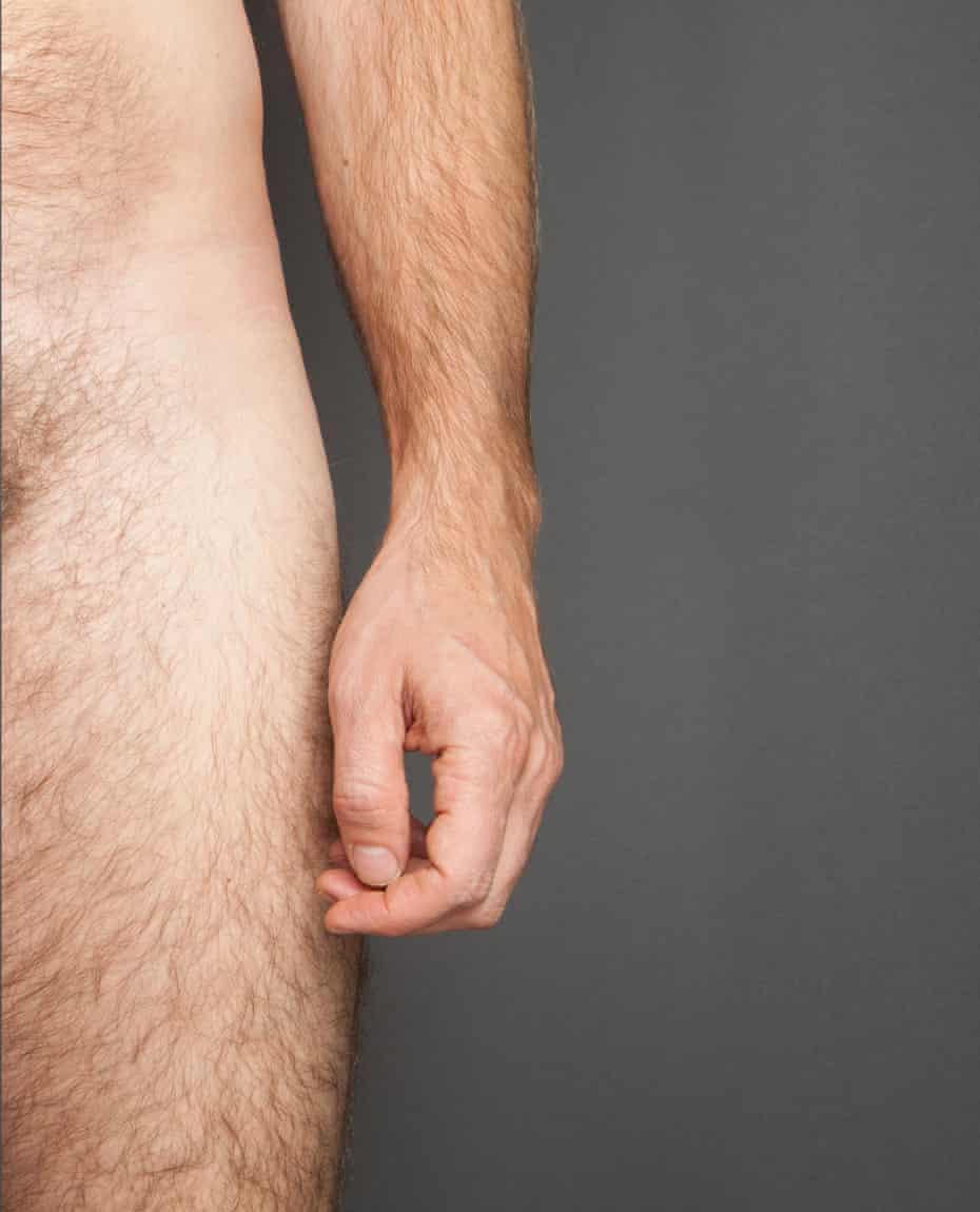 Man's thigh, hand, arm
