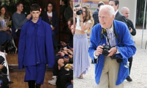 workers jackets on the vetements catwalk left and bill cunningham