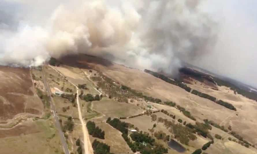 An aerial shot of a fire burning near Taylors Creek Road at Tarago on Tuesday, 70km north-east of Canberra.