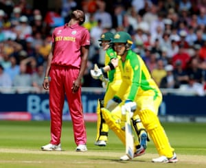 Jason Holder reacts as Steve Smith is dropped.