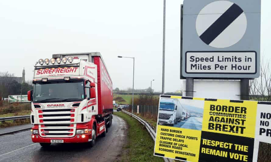 An anti-Brexit poster at the Irish border crossing
