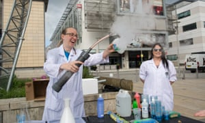 Mad Science Wales blow bubbles with dry ice at the Bristol March for Science