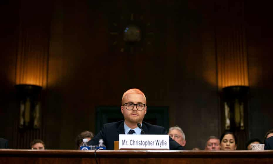 Former Cambridge Analytica research director Christopher Wylie testifies before Senate judiciary committee hearing on Capitol Hill in Washington Wednesday.