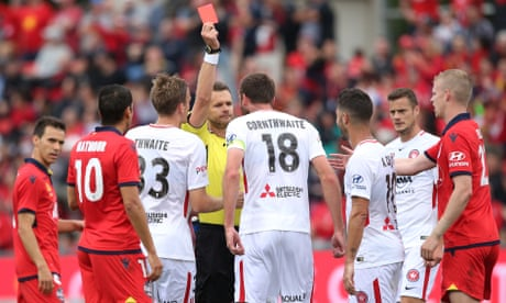 VAR determines two red cards as Adelaide account for 10-man Wanderers