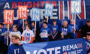Britain Stronger In Europe supporters hold placards in front of the campaign bus as it arrives at Northumbria University's City Campus on April 16, 2016 in Newcastle upon Tyne, England.