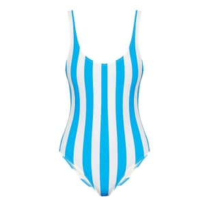 blue and white striped swimsuit