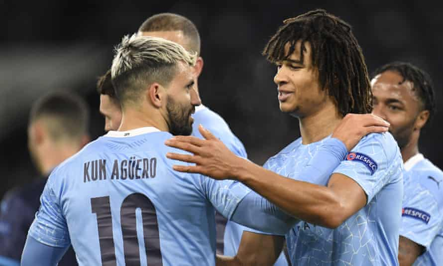 Sergio Agüero of Manchester City (left) celebrates with Nathan Aké after scoring the second goal of the night.