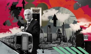 Illustration by Eleanor Shakespeare of John McDonnell and images of British industry.