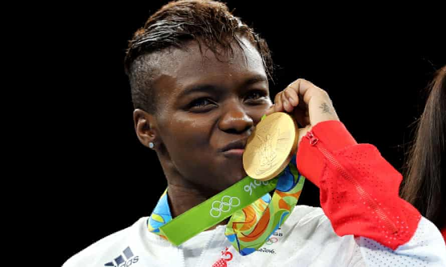 Nicola Adams with her gold medal in the women's flyweight final.