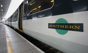 A Southern rail train on a platform.