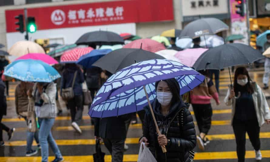People wearing face masks in Hong Kong