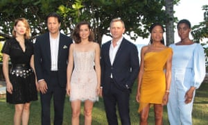 Daniel Craig with other cast members of Bond 25. An explosion at Pinewood Studios injured a crew member and damaged the stage.