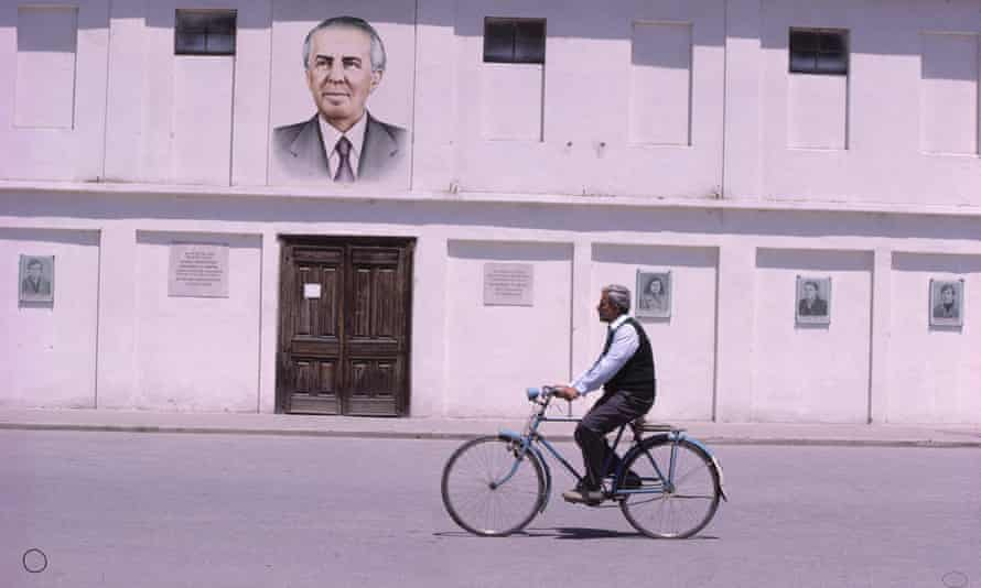 A portrait of Albania's Communist dictator Enver Hoxha in 1980.
