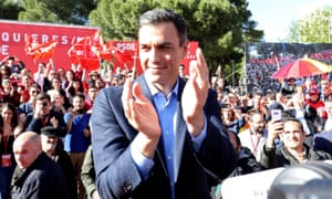 Spain's prime minister Pedro Sánchez at at campaign rally.