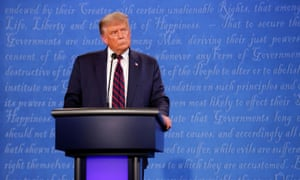 Donald Trump at the first presidential debate with Joe Biden in Cleveland, Ohio, on 29 September.