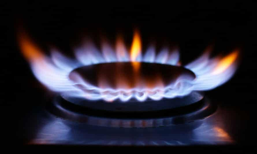 a gas cooker ring burning