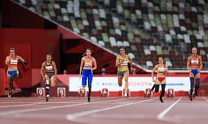 (L-R) Marlene van Gansewinkel of the Netherlands, Marissa Papaconstantinou of Canada, Kimberly Alkemade of Netherlands, Irmgard Bensusan of Germany, Sara Andres Barrio of Spain and Fleur Jong of the Netherlands compete in the women's 100m - T64 final.