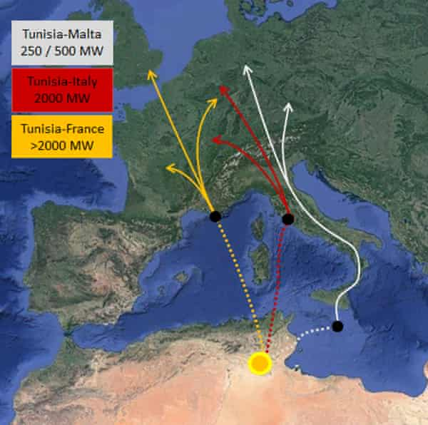 Map of the planned TuNur solar project