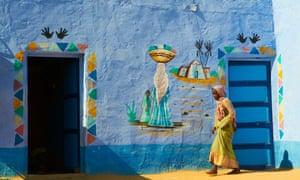 A Nubian painted village near Aswan, Egypt.