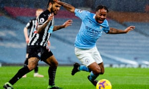 Raheem Sterling goes down in the box.