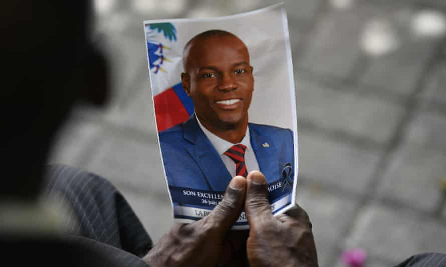 A photo of Jovenel Moise, at his memorial ceremony in Port-au-Prince, Haiti, 20 July 2021.