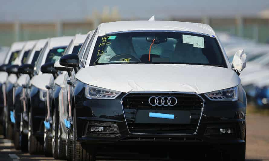 A new Audi car on the dockside in Sheerness, Kent