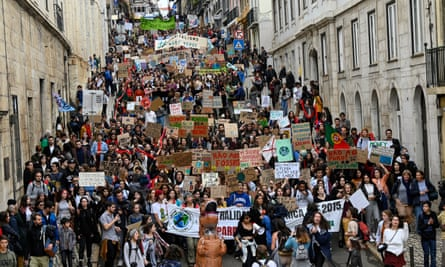 The climate strike in Lisbon, Portugal.