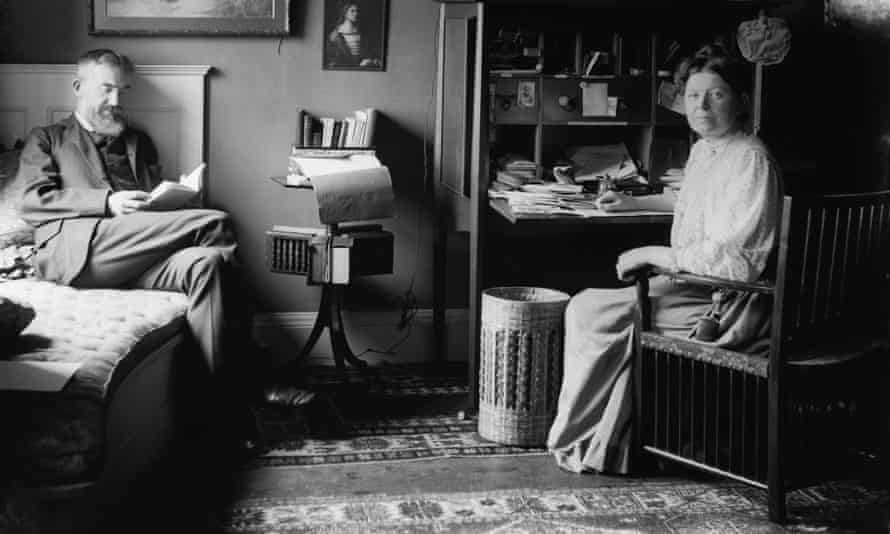 George Bernard Shaw and his wife, Charlotte, at their home in London, circa 1905.