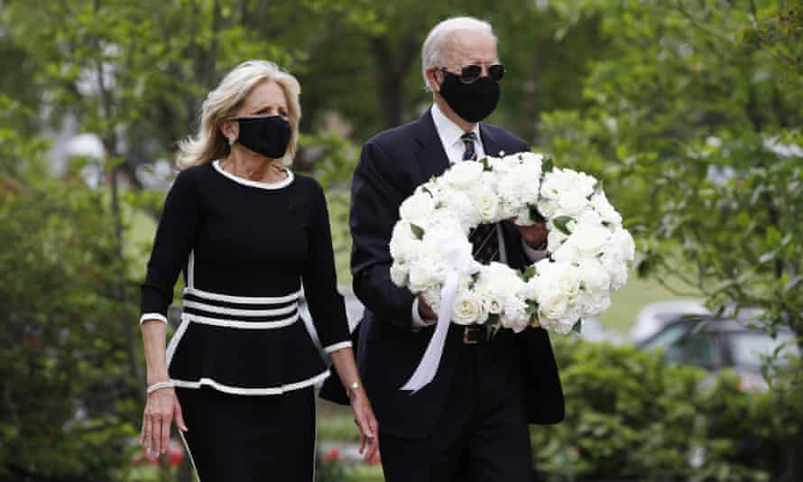 Joe Biden and Jill Biden arrive to lay a wreath at the Delaware Memorial Bridge Veterans Memorial Park.